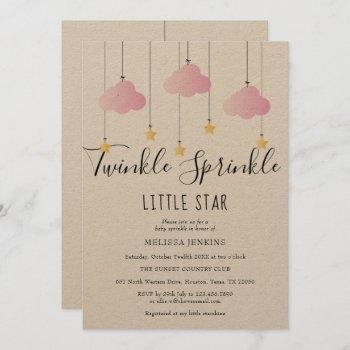 Twinkle Sprinkle Baby Shower Pink Rustic Boho