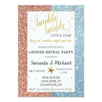 Twinkle Star Glitter Gold Gender Reveal Party Invitation
