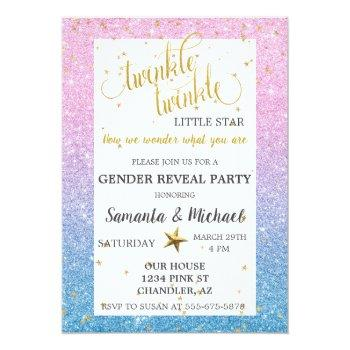 Twinkle Star Ombre Glitter Gender Reveal Party Invitation