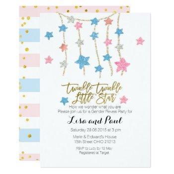 Twinkle Stars Girl Or Boy Gender Reveal Invitation