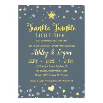 Twinkle Twinkle Gender Reveal Shower Invitation