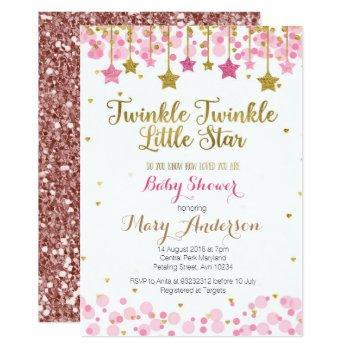 Twinkle Twinkle Little Star Baby Shower Invite Gir