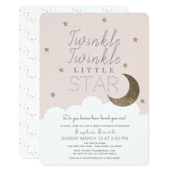 Twinkle Twinkle Little Star Blush Pink Baby Shower Invitation