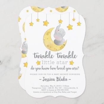 'twinkle Twinkle Little Star' Elephant Baby Shower Invitation