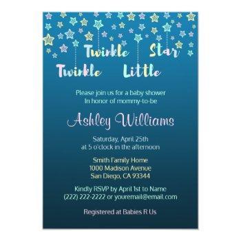 Twinkle Twinkle Little Star Gender Reveal Blue Invitation