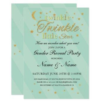 Twinkle Twinkle Little Star Gender Reveal Mint Invitation
