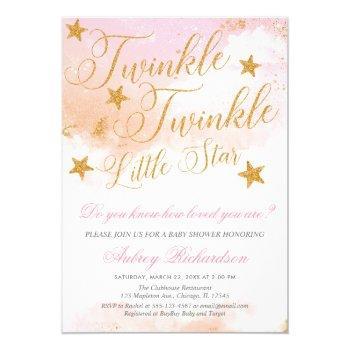 Twinkle Twinkle Little Star Girl Baby Shower Invitation