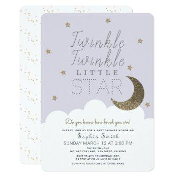 Twinkle Twinkle Little Star Lilac Baby Shower Invitation