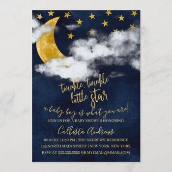 Twinkle Twinkle Little Star Moon Boy Baby Shower Invitation