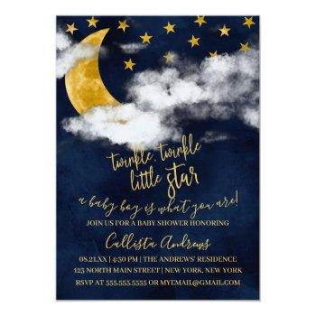 Twinkle Twinkle Little Star Moon Boy Baby Shower Invitation