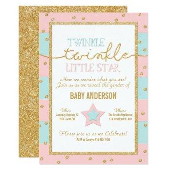Twinkle Twinkle Pink Blue Gold Gender Reveal Invitation