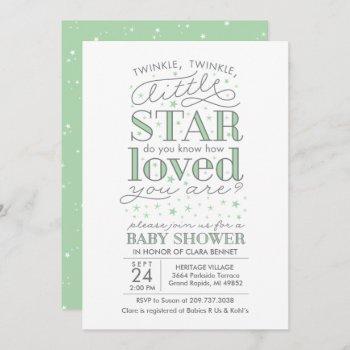 Twinkle Twinkle Star Theme Baby Shower Mint Green