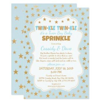Twinkle Twins Baby Sprinkle, Twin Boys Baby Shower Invitation
