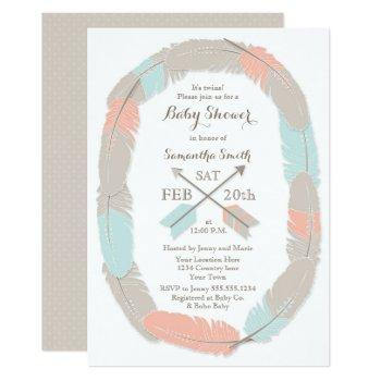 Twins Baby Shower Boho Tribal Boy/girl Twin Invitation