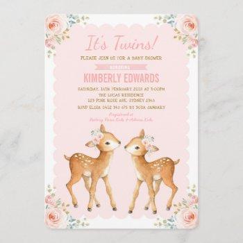 Twins Baby Shower Girl Deer Blush Pink Floral Invitation