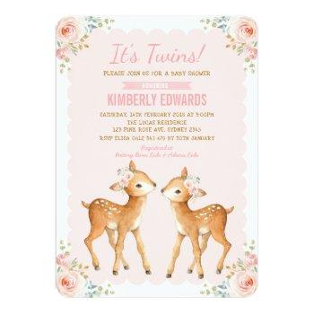 Twins Baby Shower Girl Deer Blush Pink Floral Invitation
