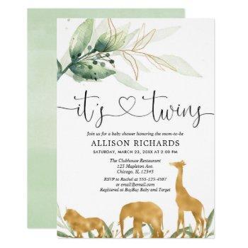 Twins Baby Shower Safari Animals Greenery Shower Invitation