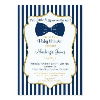 Twins Boy Baby Shower Invitation Blue Gold Bow Tie