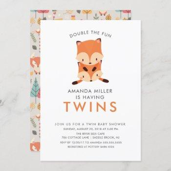 Twins Double The Fun Fox Baby Shower Invitations