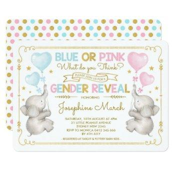 Twins Elephant Gender Reveal Blue Pink Gold Baby Invitation