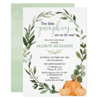 Twins Fall Two Little Pumpkins Baby Shower Invitation