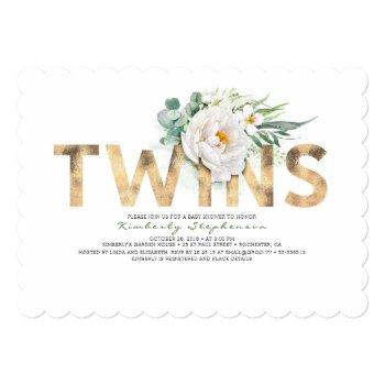 Twins Floral Gold Typography Baby Shower Invitation