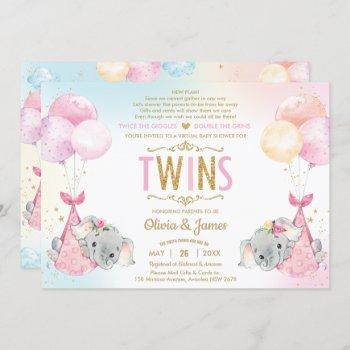 Twins Girls Elephant Virtual Baby Shower By Mail Invitation