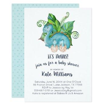 Twins Little Dinosaurs Baby Shower Invitation