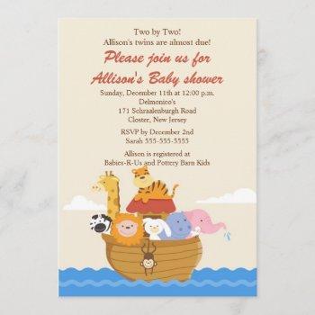 Twins! Noah's Ark Boy Or Girl Baby Shower Invitation