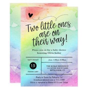 Twins Rainbow Baby Shower, Gender Neutral Invitation