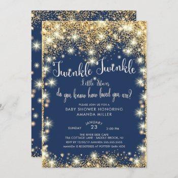 Twins Twinkle Twinkle Little Stars Baby Shower Invitation