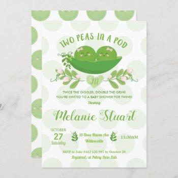 Two Peas In A Pod Baby Shower Invitation For Twins