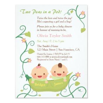 Two Peas In A Pod Twin Baby Shower With Names Invitation