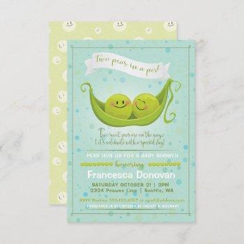Two Peas In A Pod Twins Baby Shower Invitation