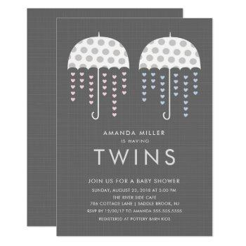 Umbrella Twins Girl Boy Baby Shower Invitation