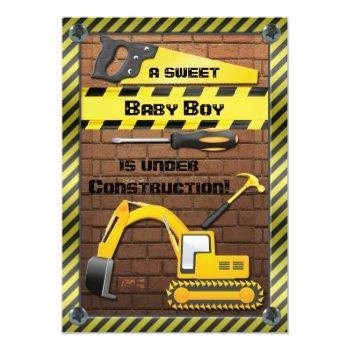 Under Construction Baby Boy Shower Invitation