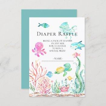 Under The Sea Baby Shower Diaper Raffle Ticket Invitation