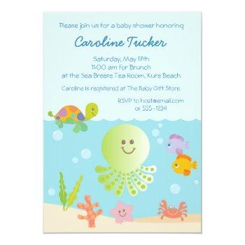 Under The Sea Baby Shower In Blue Invitation