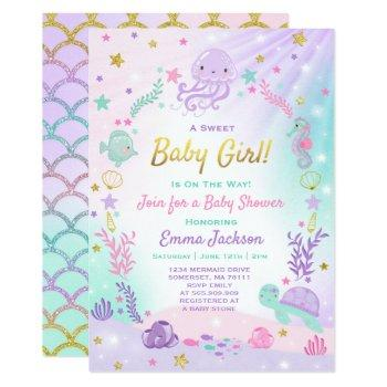 Under The Sea Baby Shower Invitation Pink & Gold