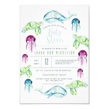 Under The Sea Baby Shower Ocean Animals Watercolor Invitation