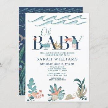 Under The Sea Blue Watercolor Oh Baby Shower