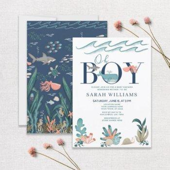 Under The Sea Blue Watercolor Oh Boy Baby Shower