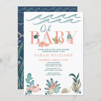 Under The Sea Coral Watercolor Oh Baby Girl Shower Invitation