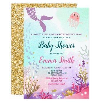 Under The Sea Mermaid Baby Shower Invitation Girl