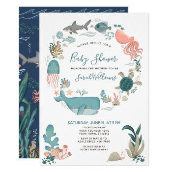 Under The Sea Ocean Animals Baby Shower Script Invitation