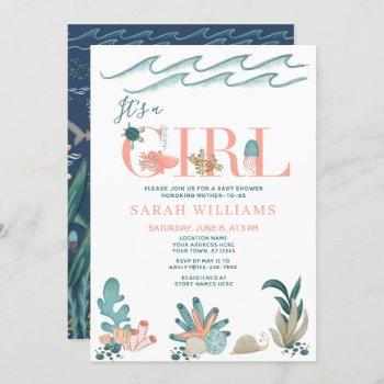 Under The Sea Watercolor It's A Girl Baby Shower Invitation