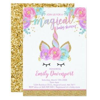 Unicorn Baby Shower Invitation Magical Baby Shower