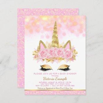 Unicorn Baby Shower  Pink Gold Unicorn