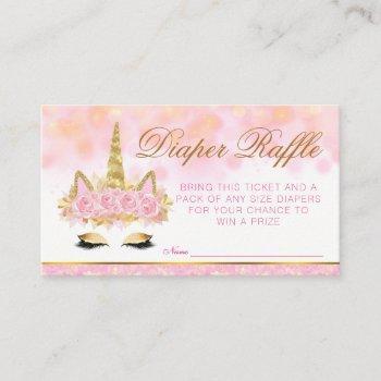Unicorn Diaper Raffle Tickets Enclosure Card