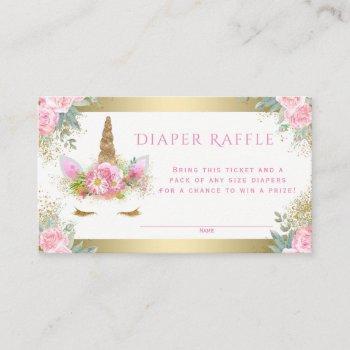 Unicorn Face Diaper Raffle Tickets Enclosure Card